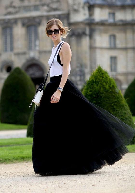 black puffy high waisted maxi skirt