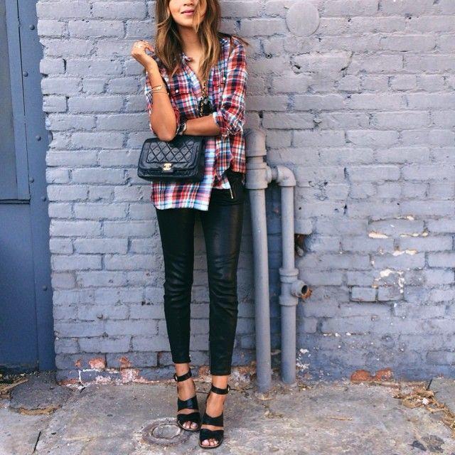boyfriend shirt leather leggings