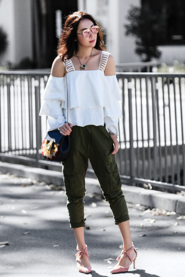 cargo pants cold shoulder girl