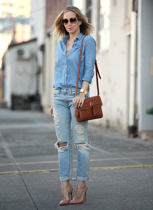 chambray boyfriend shirt jeans outfit