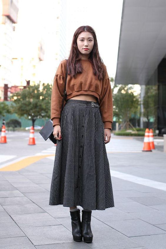 cropped sweater high waisted maxi shirt