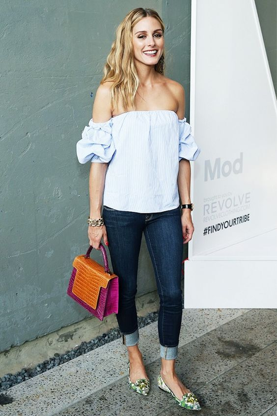 cuffed jeans off the shoulder blouse