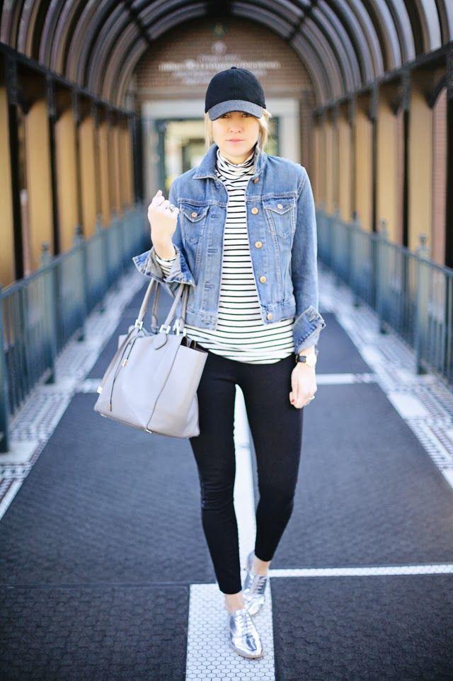 denim jacket baseball cap skinny jeans