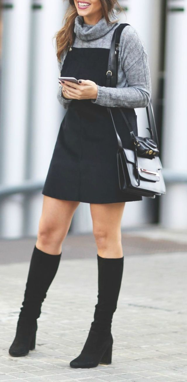 denim over skirt turtle neck sweater boots