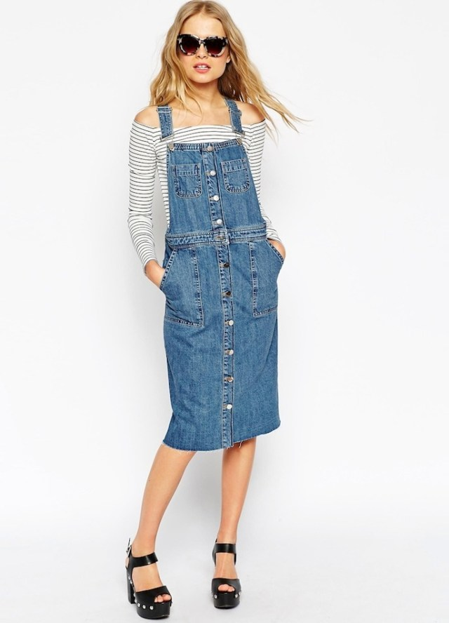 denim overall skirt stripped off the shoulder top