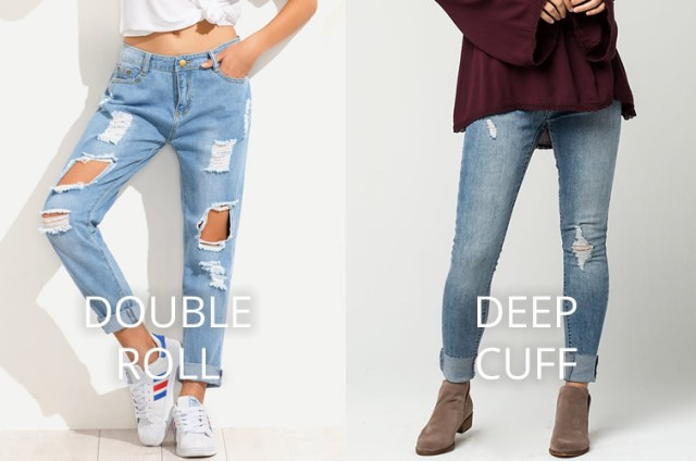 double roll deep cuff jeans women