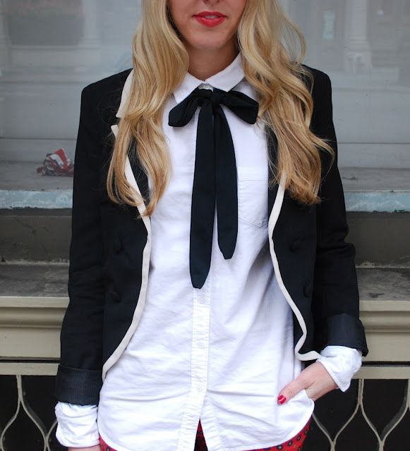 female suit bow tie