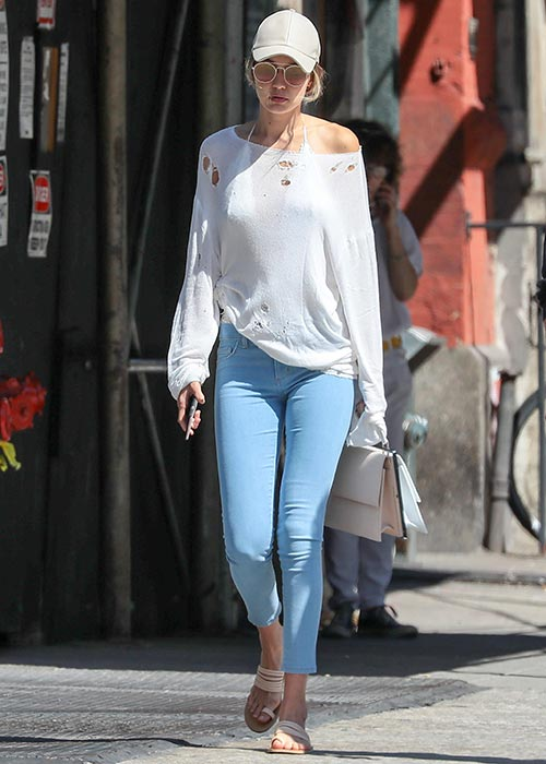 gigi hadid baseball cap one shoulder comfy sweater