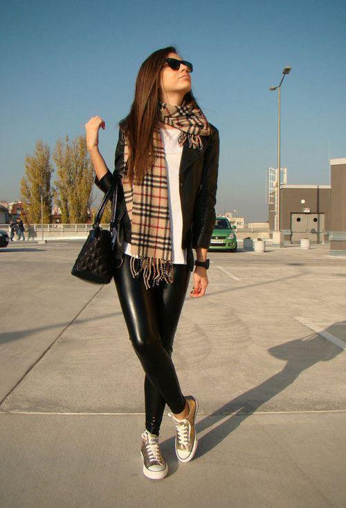 jacket scarf sneakers leather leggings