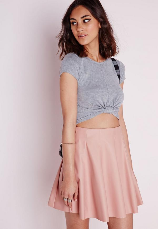 knotted t shirt high waist mini skirt