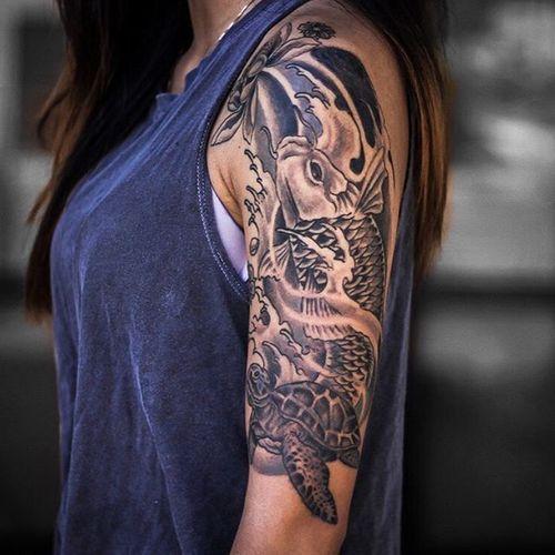 koi half sleeve tattoo