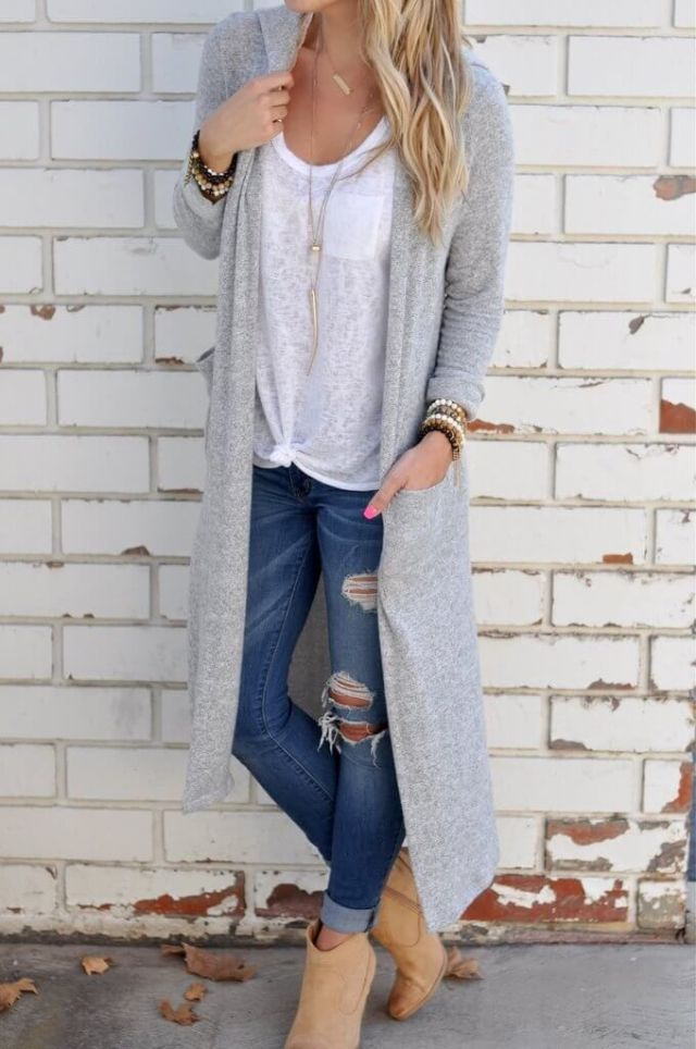 long cardigan boots ripped cuffed skinny jeans