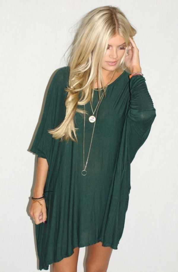 long sleeve batwing t shirt dress