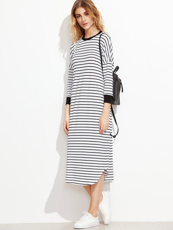 long-sleeve-t-shirt-dress-striped-drop-shoulder