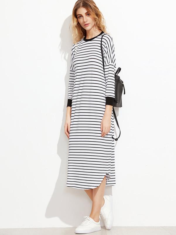 long-sleeve-t-shirt-dress-striped-drop-shoulder