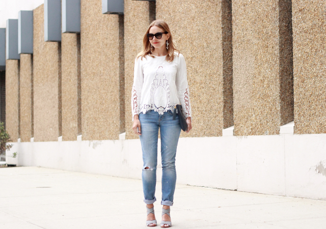 long sleeve white lace top boyfriend jeans