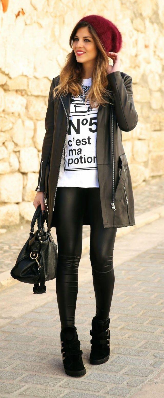 longline jacket t shirt leather leggings