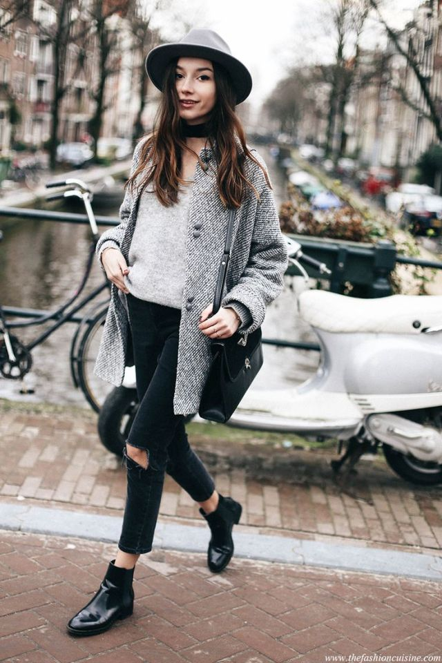 mid coat capri jeans boots