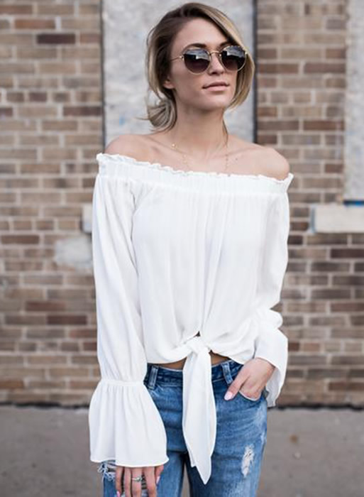 off shoulder tie front blouse outfit