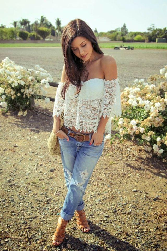 off the shoulder lace top boyfriend jeans