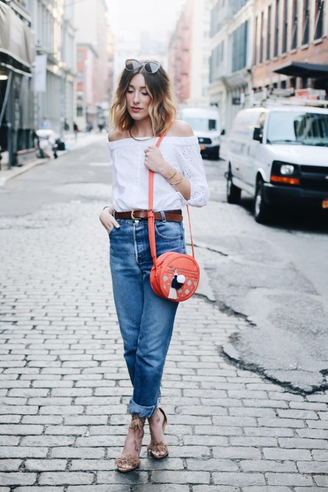 off the shoulder top with boyfriend jeans