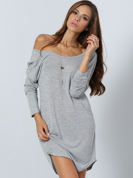 one shoulder long sleeve tee dress