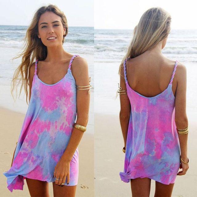 purple pink tie dye beach dress