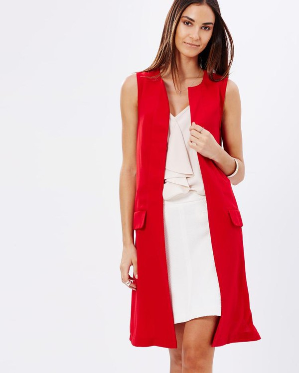 red long sleeveless cardigan dress outfit