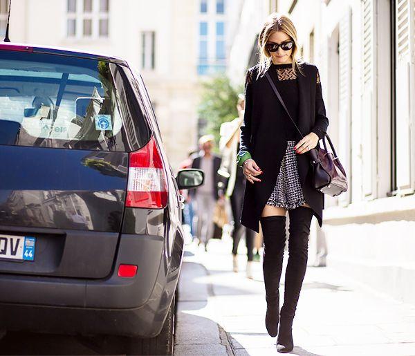 short skirt long coat thigh high boots
