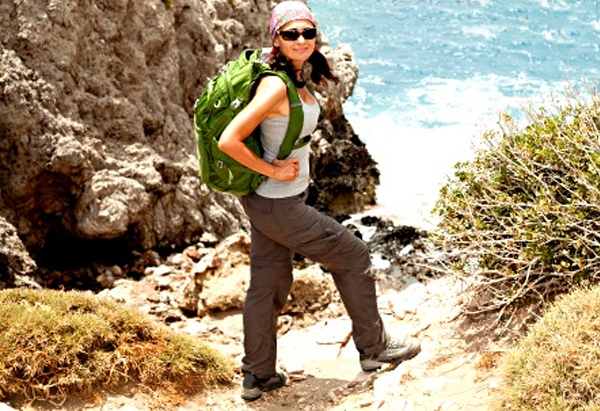 tank top cargo pants lady hiking