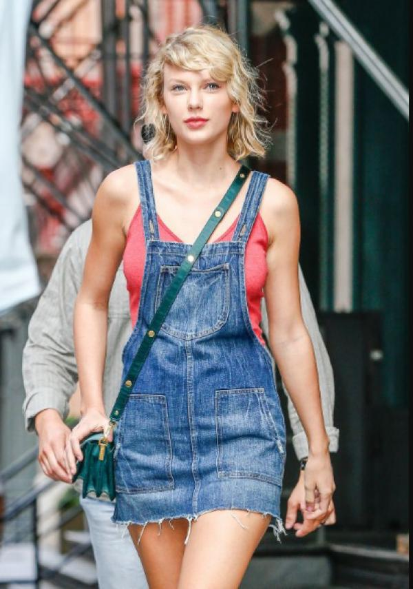 taylor swift denim overall skirt tank top