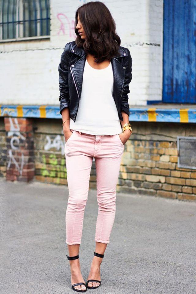 white t shirt black leather jacket capri pants