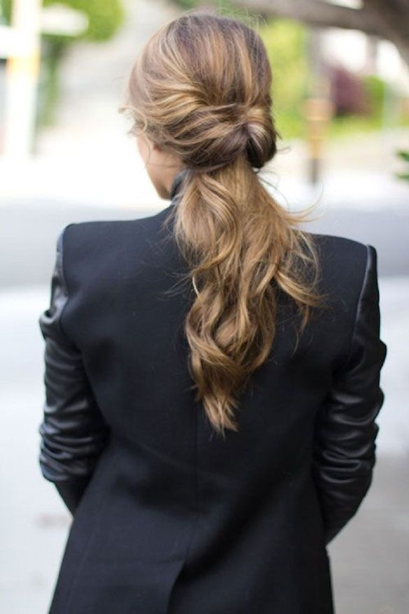 women suit twisted ponytail