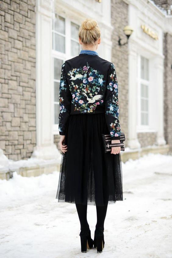 birds flowers tulle skirt