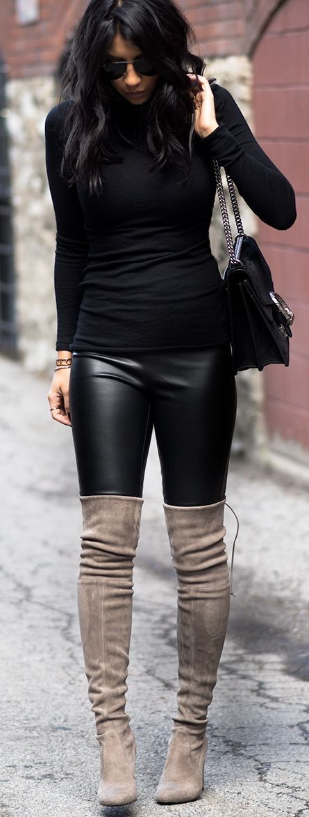 black pants grey boots