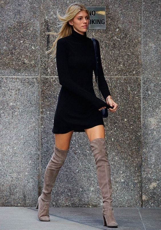black dress grey thigh high boots
