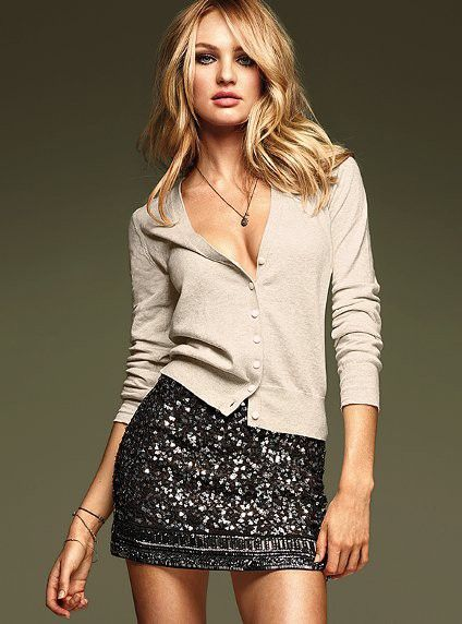 cardigan black sequin skirt