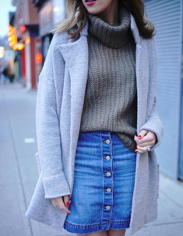 grey coat denim