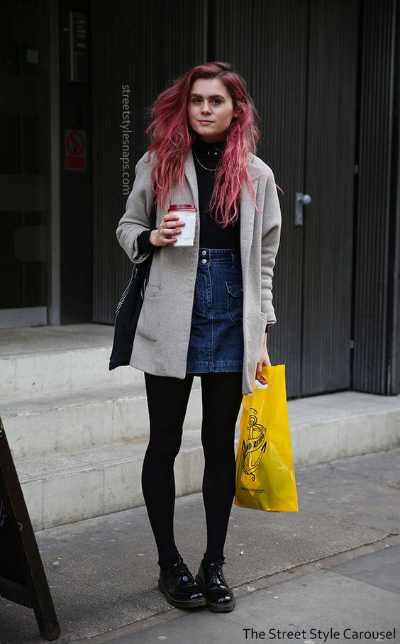 short grey coat denim skirt