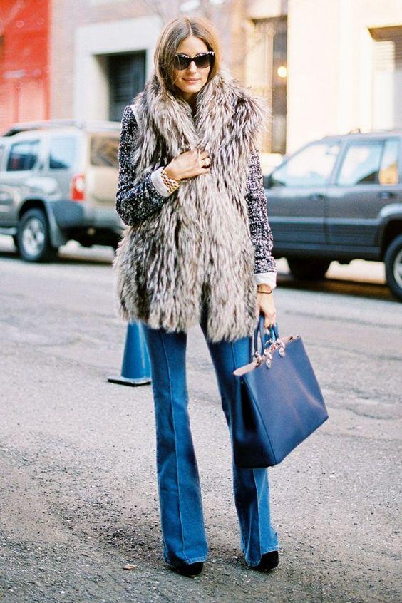 faux fur flare jeans