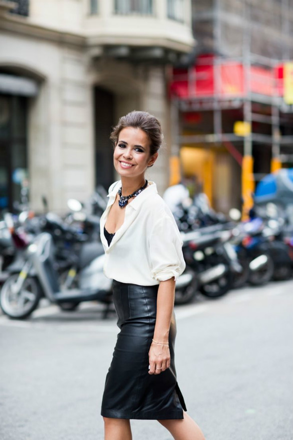 midi skirt leather look