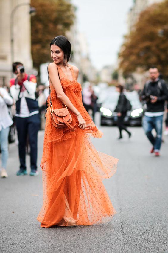 orange ruffle maxi dress
