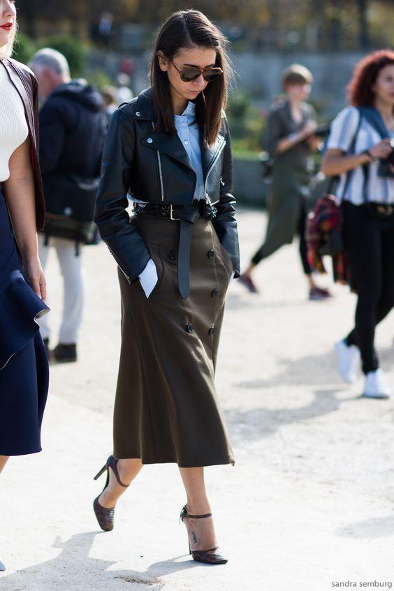cropped leather jacket midi skirt