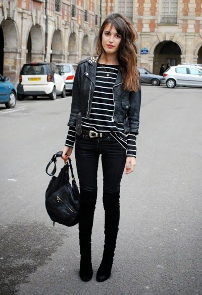 cropped leather jacket stiped shirt
