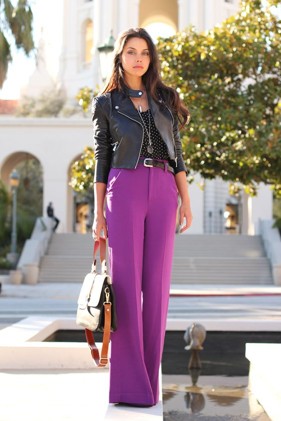 cropped leather jacket color block