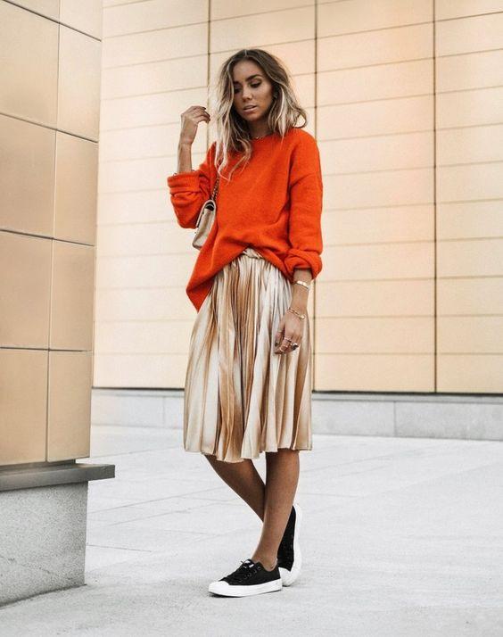 gold skirt oversized sweater