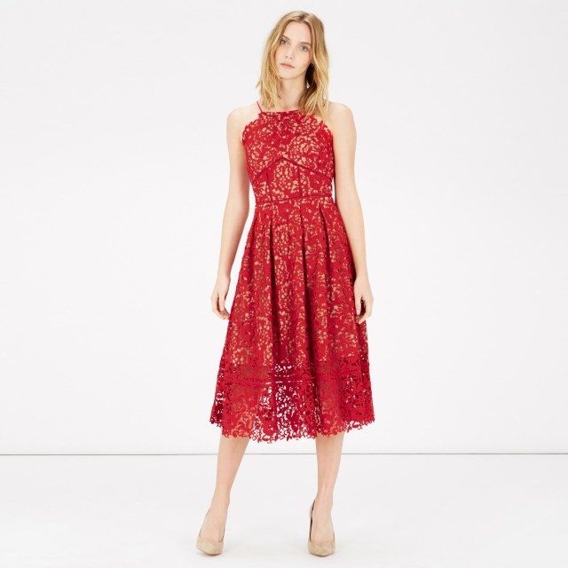 red lace halter dress midi