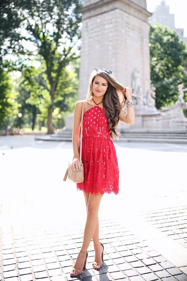 red lace halter lace dress mini