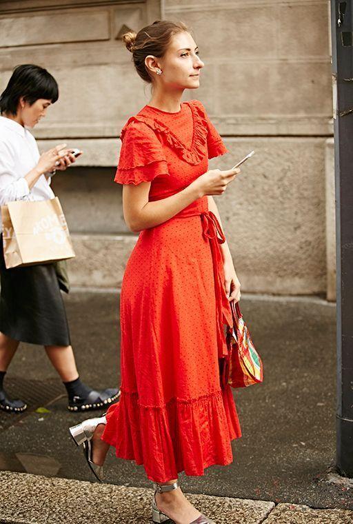 red ruffle maxi dress