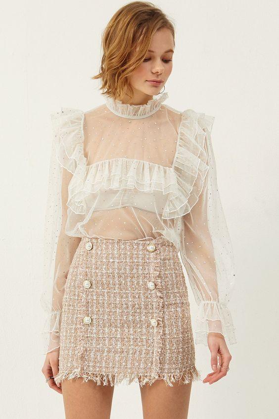 tweed skirt romantic